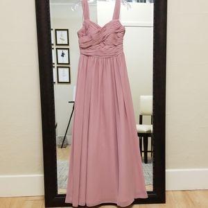 Size 2 pink long bridesmaid dress